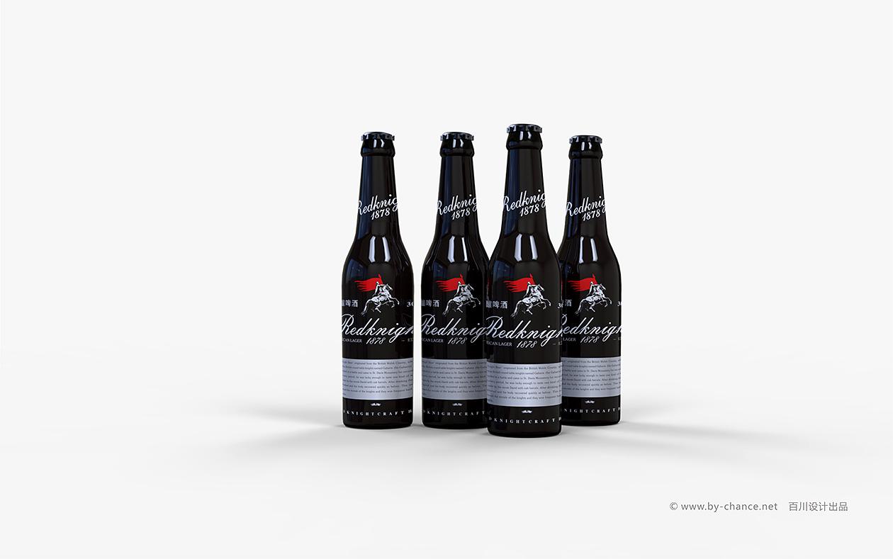 红骑士啤酒玻璃瓶包装设计